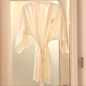 "Other - White silky ""L"" monogrammed robe"